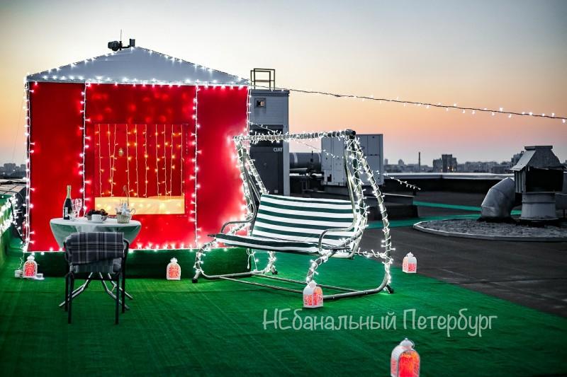 Праздник на террасе с видом на телебашню